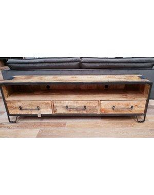 TV meubel mango industrieel Rift 180 cm met 3 lades