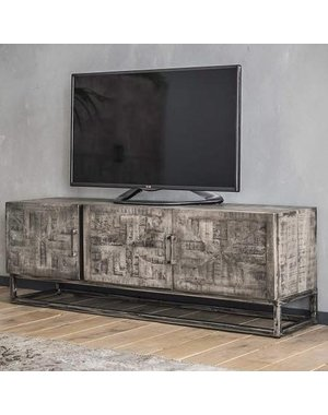 TV meubel Grado ingelegd mango antiek leem