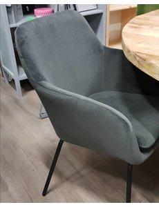 Eettafelstoel Round velvet grijs