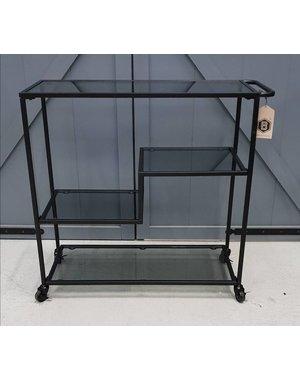 Trolley metaal met rookglas zwart