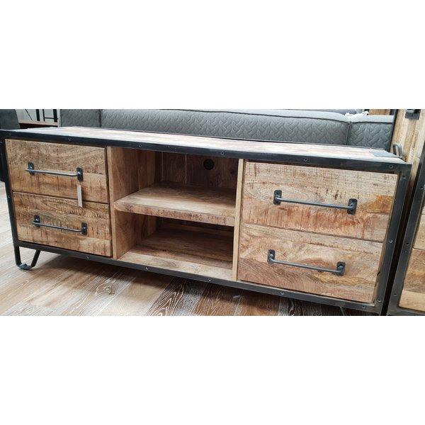 TV meubel mango industrieel Rift 180 cm met 4 lades