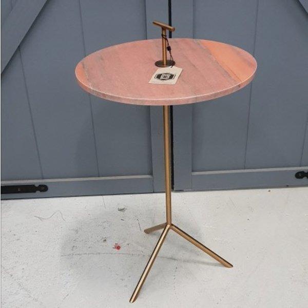 Bijzettafel goudkleurig met roze marmer