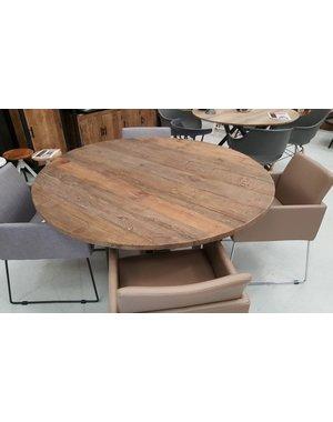 Houten Meubel Outlet Eettafel rond 140 cm elm wood industrieel