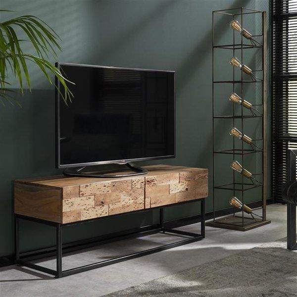 TV-meubel Mill 2L / Massief acacia gezandstraald