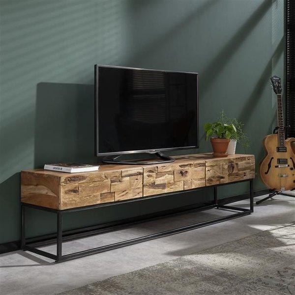 TV-meubel Mill 3L / Massief acacia gezandstraald
