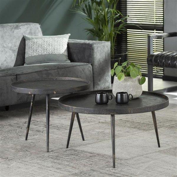 Salontafel set/2 rond metallic/Grijs