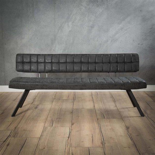 Eetkamerbank 180 cm voorzien van kruisstiksel en een open rug. / Wax PU zwart