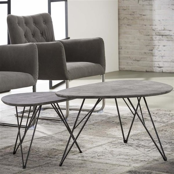Salontafel Nier 90x60 3d texture/3D betonlook grijs