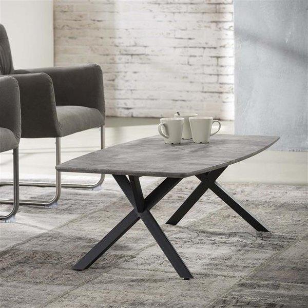Salontafel 120 ovaal blad / 3D betonlook grijs