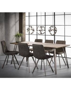Eetkamertafel MDF-blad 3D eiken-decor en een V-frame