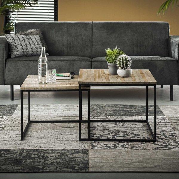 Salontafel Teca set/2 60x60 / Teakhout greywash