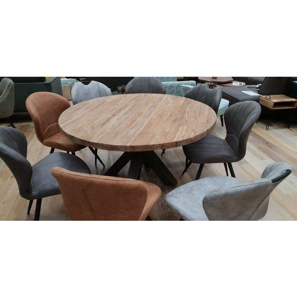 Eettafel rond met dik massief teak blad Ø 150 cm