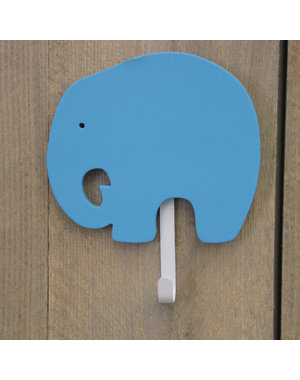 Kapstokje olifant 1-haak turquoise - Set van 2