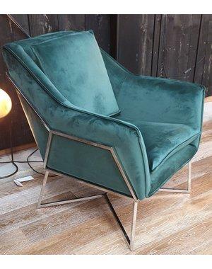 Richmond Interiors Fauteuil Aurelia groen / silver * Samples met extra hoge korting