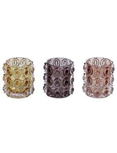 Waxinehouders glas  set/3