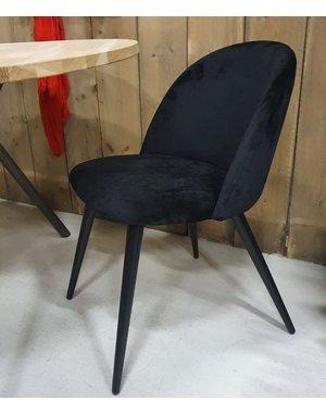 Eettafelstoel Fa velvet zwart