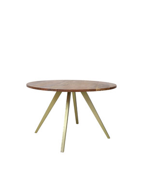 Eettafel MIMOSO acacia hout-antiek brons Ø 120 cm