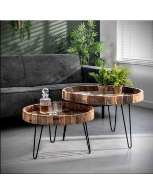 Salontafel set van 2 lodge rond