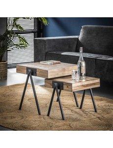Salontafel Teca balance set van 2 50x50
