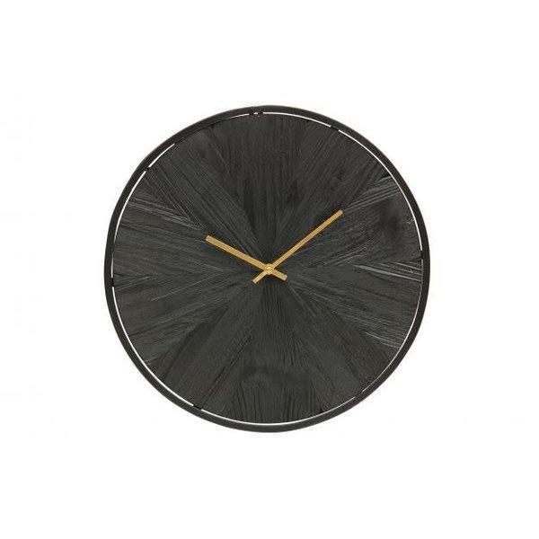 Woood Valentino wandklok zwart hout
