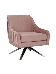 Richmond Interiors Fauteuil Eloise Pink velvet / silver