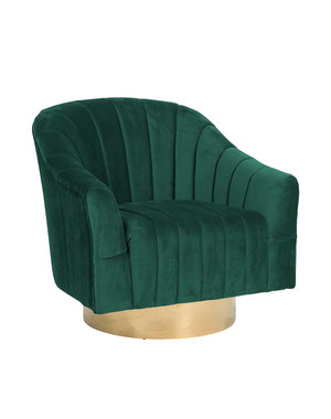 Richmond Interiors Draaifauteuil Swanson Green Velvet