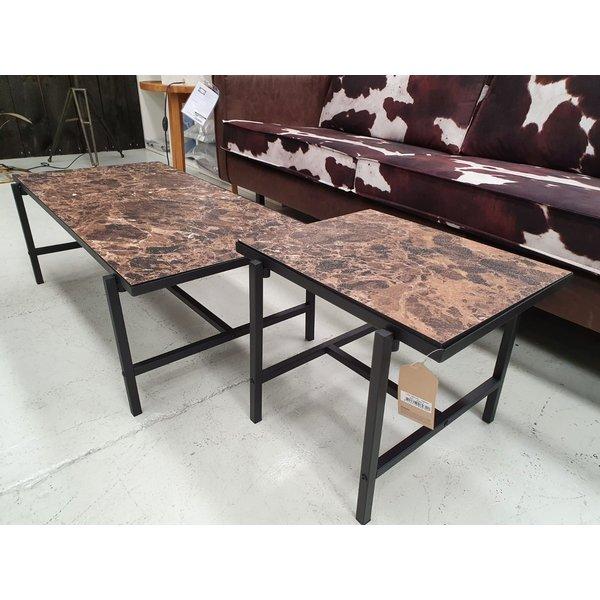 Bijzettafel Turning hout zwart/bruin