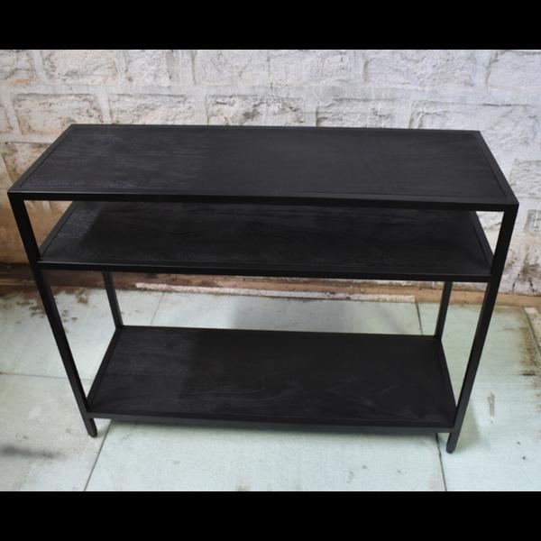 Sidetable metaal met zwart houten planken