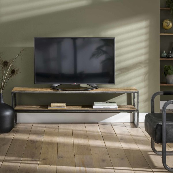 TV-meubel 150x35 grained / Robuust hardhout
