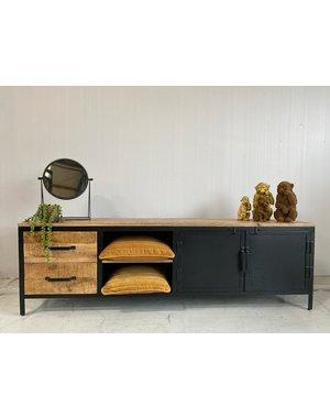 Tv meubel Lizzy mango groot - 2 deurs en 2 lades - 190 cm