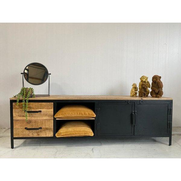 Tv meubel Lizzy mango groot - 2 deurs en 2 lades -190 cm