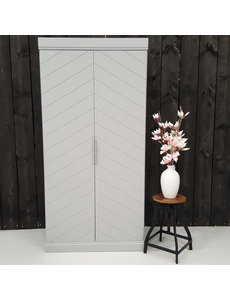 Houten Meubel Outlet Garderobekast visgraat grijs 2 deurs
