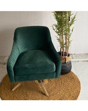 Richmond Interiors Fauteuil Eloise Green velvet  met gouden voet