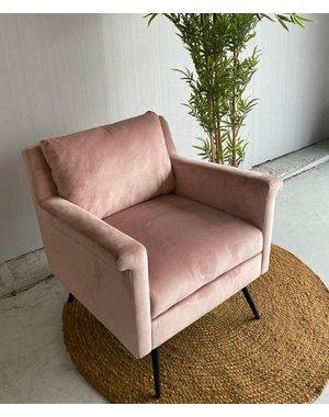 Richmond Interiors Showroommodel * Fauteuil Belia Pink Velvet * Hoge korting