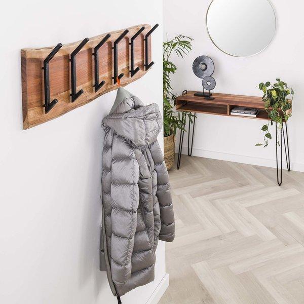 Kapstok edge 2x6 haken / Massief acacia naturel