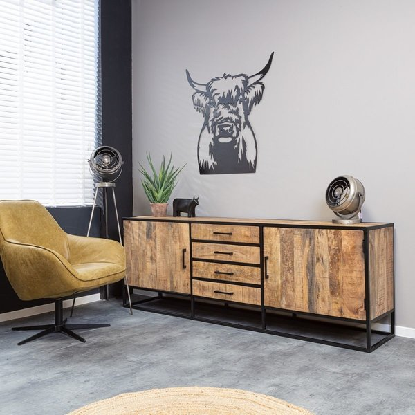 Starfurn Dressoir Denver | Mangohout en staal | Naturel | 210 cm