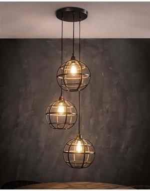 Hanglamp 3xØ33 Globe Getrapt