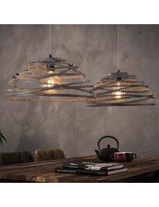 Hanglamp 2xØ50 Halfrond Staaldraad Gedraaid