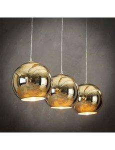 Hanglamp 3L Globe goud