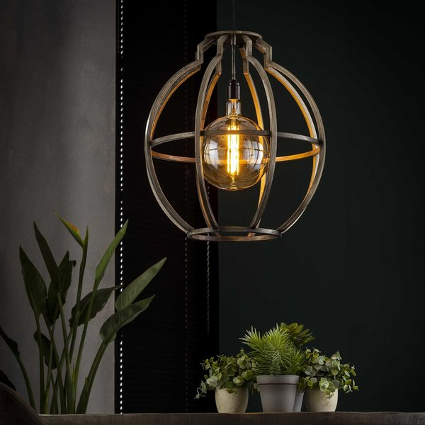 Hanglamp globo / Oud zilver