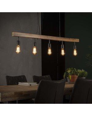 Hanglamp 5L houten balk / Massief mango naturel