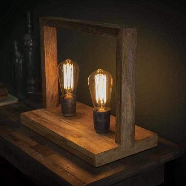 Tafellamp 2L rechthoekig houten frame / Massief mango naturel