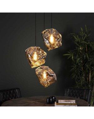 Hanglamp Rock Chromed glas Getrapt 3L