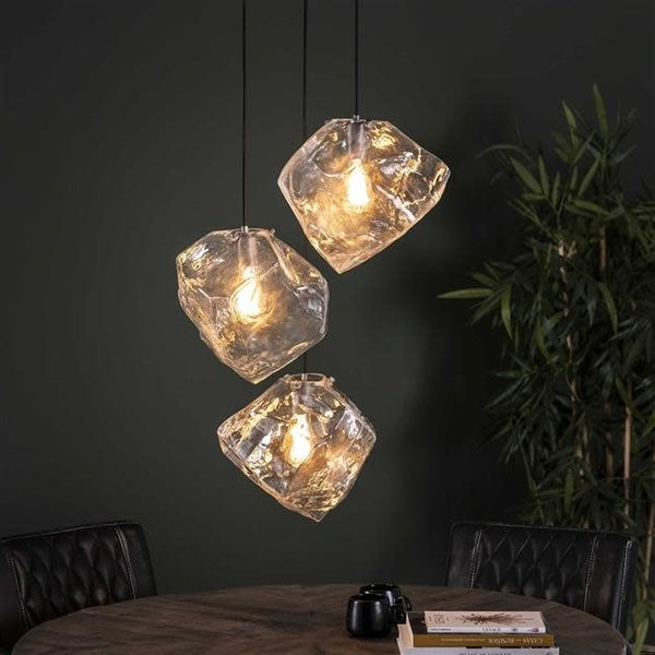 Hanglamp Rock Clear glas Getrapt 3L