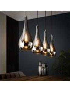 Hanglamp 4L silver drop glass