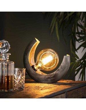 Tafellamp half moon / Oud zilver