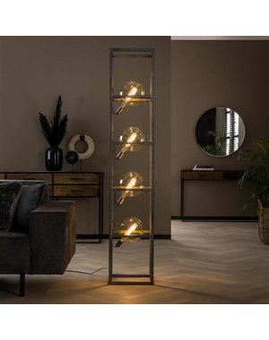 Vloerlamp 4L giant square XL / Oud zilver