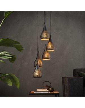 Hanglamp 5x getrapt punch / Zwart bruin