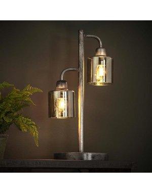 Tafellamp 2L harbor amber glas / Oud zilver