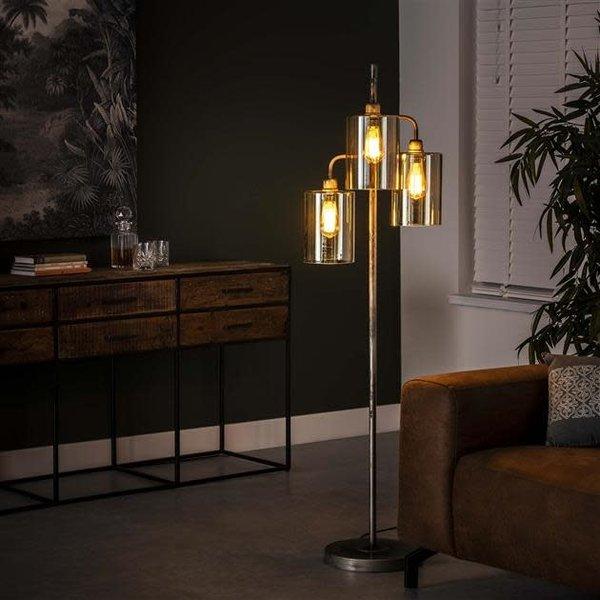 Vloerlamp 3L harbor amber glas / Oud zilver